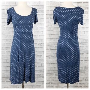 Boden Blue with Gray Polkadot High Waisted Dress